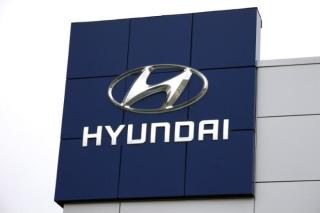 The Hyundai logo is seen outside a Hyundai car dealer in Golden