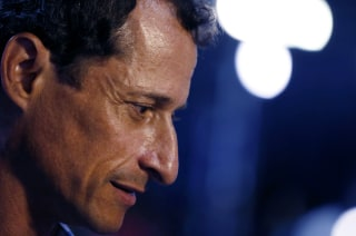 Image: Anthony Weiner speaks to the media before the start of the Democratic National Convention