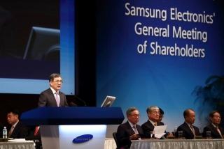 Kwon Oh-Hyun, chief executive officer of Samsung Electronics Co., speaks during the company?s extraordinary general meeting of shareholders at the Seocho office building in Seoul, South Korea