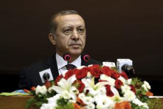 Image: Turkey's President Erdogan addresses the parliament in Pakistan, Thursday.