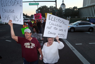 Image: Protesters opposed to the Electoral College circle the Capitol as they demonstrate against the election of Republican Donald Trump as President of the United States in Tallahassee