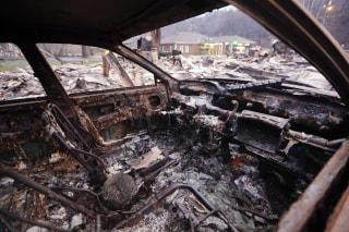 IMAGE: Destroyed car in Gatlinburg, Tennessee