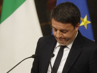 Image: Matteo Renzi speaks during a press conference at the premier's office Chigi Palace in Rome