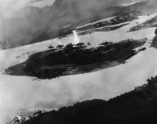 Image: Believed to be the first bomb dropped on Pearl Harbor, Hawaii in the sneak-attack on Dec. 7, 1941.