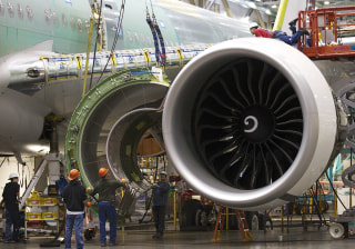 Image: A Boeing 777 passenger plane is built