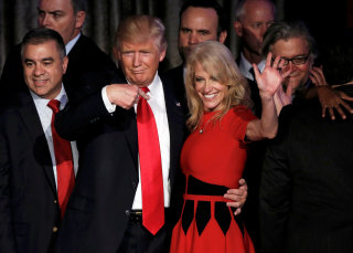 Image: Donald Trump and Kellyanne Conway pictured after his victory.