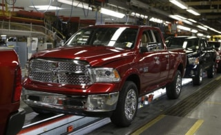 A Dodge Ram 2014 pick-up truck is seen on the assembly line at Chrysler Group's Warren Truck Assembly plant in Warren, Michigan