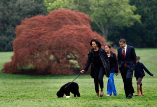 Image: President Barack Obama (2R), First Lady Michelle (L) and their daughters, Sasha (2nd L) and Malia (L), introduce their new dog, a Portuguese water dog named Bo, to the White House press corps at the South Lawn of the White House April 14, 2009.