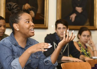 "Image: Sarita Smith speaks during the ""Faith and Politics"" class at Emory University"