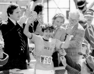 Image: Rosie Ruiz, of New York, waves to the crowd after she was announced the women's winner of the Boston Marathon in 1980