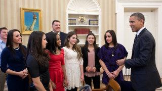U.S. Olympic Gymnastics Team Visits White House
