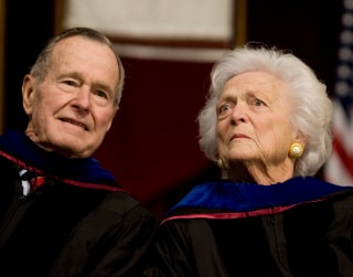 Image: Former president George H.W. Bush, and former first lady, Barbara Bush