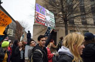 Image: Demonstrators protest against President-elect Donald Trump