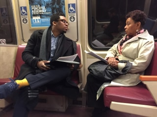 Rep. Barbara Lee and a staffer ride the Metro to anti-Trump event on Inauguration Day