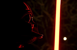 Image: Darth Mykolaiovych Vader, who is dressed as the 'Star Wars' character Darth Vader, poses for a picture with a lightsaber, Dec. 3, 2015.