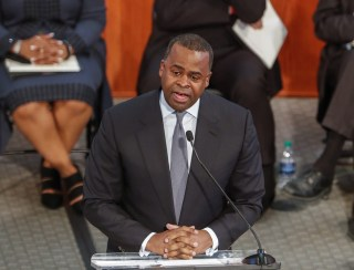 Image: Atlanta Mayor Kasim Reed responds to negative comments about the city by President Donald Trump during the annual Martin Luther King Jr. Commemorative Service at the Ebenezer Baptist Church in Atlanta, Georgia on Jan. 16.