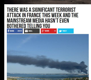 Image: How Breitbart reported an attack on a petrochemical plant in Marseille