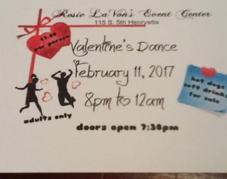 Image: The invitation to a Valentine's Dance at Rosie LaVon's in Henryetta, Oklahoma