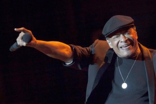 Image: Jazz singer Al Jarreau performing on stage at the Alfredo Kraus auditorium in Las Palmas de Gran Canaria, Canary Islands, Spain, as part of the Jazz & Mas Heineken Canarias International Festival, July 16, 2014.