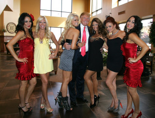 Image: Donald Trump and WWE Divas in 2009