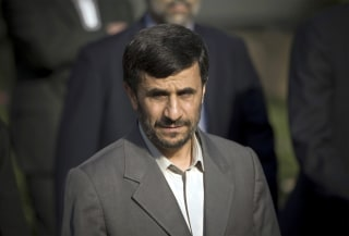 Image: Then Iran's President, Mahmoud Ahmadinejad arrives at the presidential office to attend a welcoming ceremony for his Syrian counterpart Bashar al-Assad, in Tehran, Aug. 2, 2008.