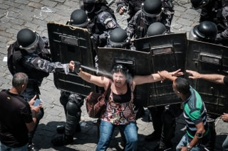 Image: Rio de Janeiro state's public servants protest against austerity measures in front of the Rio de Janeiro state Assembly