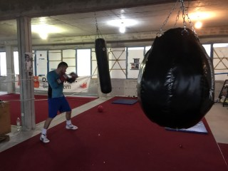 Image: Damir Beljo in his makeshift gym in Mostar.