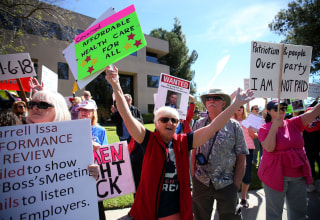 Image: Demonstration over repeal of Obamacare in Vista, California