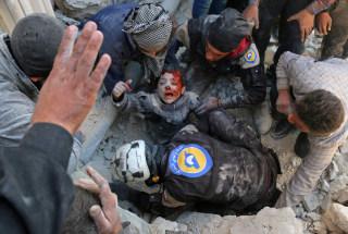 Image: Aftermath of barrel bomb attack in Aleppo, Syria