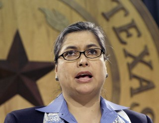 Image: Rep. Jessica Farrar, D-Houston, speaks during a news conference, April 2, 2009, in Austin, Texas.