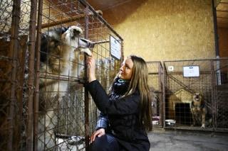 Image: Rasma Zaharenko at Rezekne's dog shelter