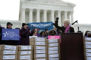 Image: Senator Elizabeth Warren (D-MA) speaks in front of the U.S. Supreme Court