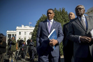Image: Rep. Cedric Richmond, the chairman of the Congressional Black Caucus, accompanied Rep. Andre Carson, and Rep. Jim Clyburn, right, speak to members of the media after they and other members of the Co