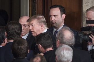 Image: White House aide Dan Scavino looks on as President Trump leaves the Capitol's House Chamber after addressing a joint session of Congress, Feb. 28, 2017.