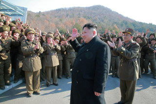 Image: North Korean leader Kim Jong Un supervised a ballistic rocket launching drill of Hwasong artillery units of the Strategic Force of the KPA on the spot