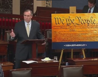 Image: Sen. Jeff Merkley (D-Oregon) led an overnight filibuster in a bid to block the confirmation of SCOTUS pick Neil Gorsuch