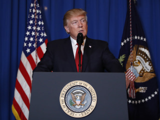 Image: President Donald Trump speaks  after the U.S. fired a barrage of cruise missiles into Syria