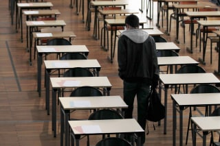 Image: A student arrives to take the philosophy baccalaureate exam at the French Clemenceau Lycee in Nantes