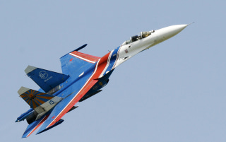 Image: A Russian Su-27 fighter jet