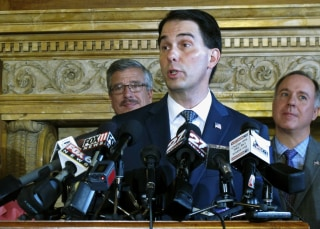 Image: Wisconsin Gov. Scott Walker discusses the creation of a new public policy leadership and research center in Madison