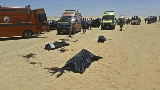 Image: Bodies of victims killed when gunmen stormed a bus in Minya, Egypt