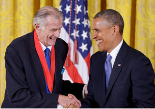 Image: President Barack Obama presents the 2012 National Humanities Medal to sports writer Frank Deford during a ceremony in the East Room of the White House on July 10, 2013 in Washington, DC.