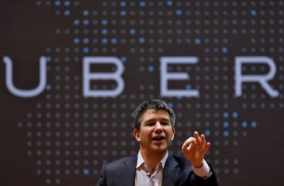 Image: Uber CEO Kalanick speaks to students during an interaction at IIT campus in Mumbai