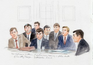 Image: The eight defendants charged with manslaughter in the frat house pledge death of Timothy Piazza sit in court