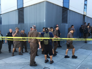 Image: UPS workers gather outside