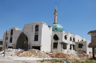 Image: The damaged Al-Rahman mosque is pictured at al-Nuaimah village in Deraa province