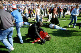 Image: Victims are assisted at Hillsborough Stadium