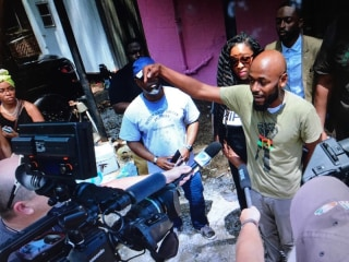 Image: Community Activist and Pastor, Michael Wortham, host 'Trap Church' at rapper 2 Chainz Trap House in Atlanta, Georgia.