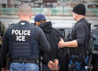 Image: ICE officers detain a suspect as they conduct a targeted enforcement operation in Los Angeles