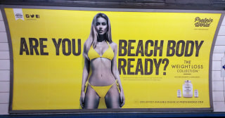 Image: Protein World advert displayed in an underground station in London